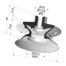 Bellows Suction Cup 1.5 folds Series 1, Ø 61 mm