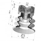 Bellows Suction Cup 2.5 folds Series 96C, Ø 25 mm