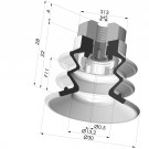 Bellows Suction Cup 2.5 folds Series 96C, Ø 30 mm