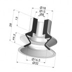 Bellows Suction Cup 1.5 folds Series 1, Ø 32 mm