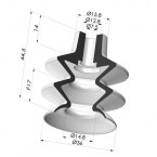 Bellows Suction Cup 2.5 folds Series 2, Ø 36 mm