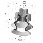 Bellows Suction Cup 1.5 folds Series 91, Ø 20 mm