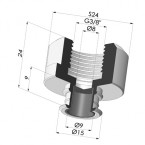Separable Female Fitting 3/8G - with Filter