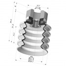 Bellows Suction Cup 4.5 folds Series 92, Ø 30 mm