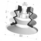 Bellows Suction Cup 2.5 folds Series 96B, Ø 50 mm