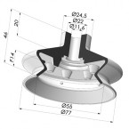 Bellows Suction Cup 1.5 folds Series 1, Ø 77 mm
