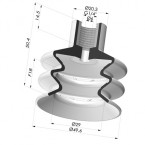 Bellows Suction Cup 2.5 folds Series 8, Ø 50 mm