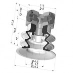 Bellows Suction Cup 2.5 folds Series 96, Ø 25 mm