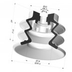 Bellows Suction Cup 2.5 folds Series 96C, Ø 40 mm